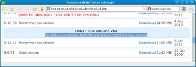 Opciones de descarga de BOINC para Linux, sólo consola