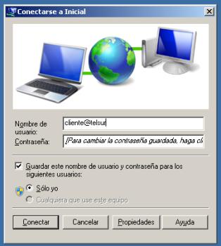 **Paso 3**:\\ Diálogo de Conexión ADSL en Windows 7