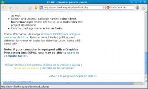 La página web de descarga del software de BOINC
