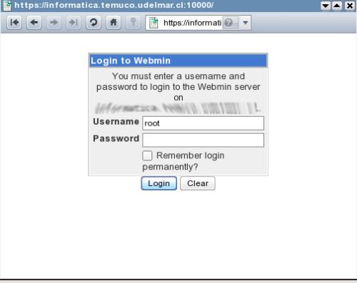 Acceso a la Interfase web de Webmin
